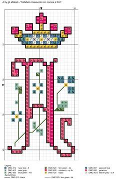 alfabeto maiuscolo con corona e fiori A