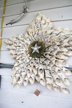 Sheet music paper cone Christmas star