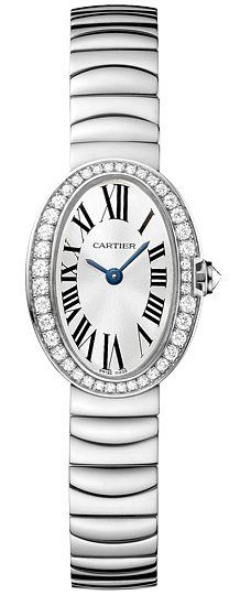 Cartier Baignoire Mini Silver Dial 18kt White Gold Ladies Watch