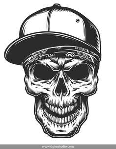 b0230f197e27 Illustration of Skull in Bandana and Baseball Cap - Tattoos Vectors