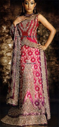 Hot Pink Embroidered Indian Wedding Dresses