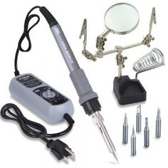 Sywon 60W ESD Soldering Iron Station Kit with Helping Hand Magnifying Glass, Soldering Holder Stand, Adjustable Temperature Control Module, ON-OFF Switch, and 5 Extra Tips