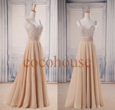 Champagne Beaded Long Prom D... from cocohouse on Wanelo