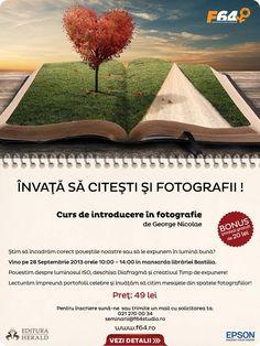 Evenimentul are loc în spațiul primitor din mansarda Librăriei Bastilia şi se va desfășura Sâmbătă 28 Septembrie, între orele 10:00 - 14:00.  ÎNVAŢĂ SĂ CITEŞTI ŞI FOTOGRAFII! Product Launch, Collections, Events, Studio, Books, Fotografia, Libros, Book, Studios