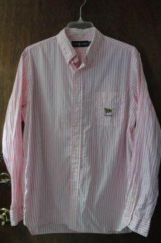 Mens Vintage Ralph Lauren Pink White Striped Shirt L Large RLPC Flag Golf  Clubs Polo Club f2fbbd7a6