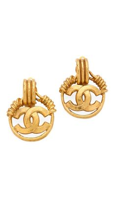why are all the nicest earrings clip on??     WGACA Vintage Vintage Chanel CC Circle Earrings