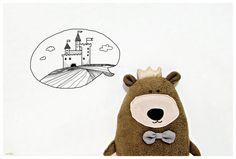 TEDDY THE KING stuffed teddy bear stuffed animal Gift by milipa