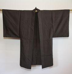 Men's brown and black pin striped Japanese kimono jacket (haori)
