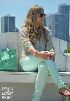 mint jeans + mint tote