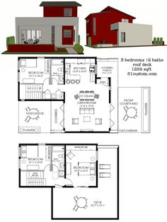 1269 sq.ft. contemporary small house plan with three bedrooms, two baths, a front kitchen, front courtyard and open concept living areas.