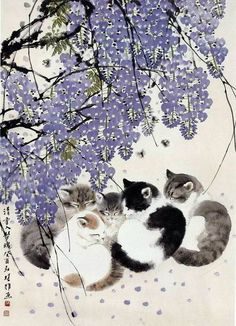 Kittens under lavender flowering tree Animals Watercolor, Illustration Art, Illustrations, Japanese Cat, Cat Drawing, Chinese Art, Crazy Cats, Animal Drawings, Asian Art