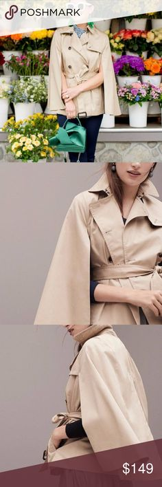 Banana Republic Water Resistant Trench Cape The polish and styling of a classic trench in an oh-so-now cape silhouette. Plus, we added a water-resistant finish so you're always prepared for wet weather. Point collar. Cape sleeves. Double-breasted button front. Two slash pockets at front. Belt at waist. Inverted box pleat at back for a comfortable fit. Fully lined. Banana Republic Jackets & Coats Capes