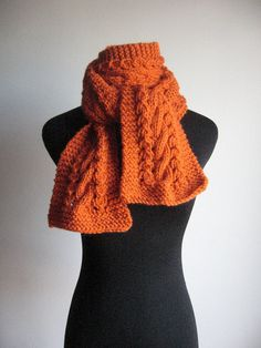 Hand Knit Scarf Pumpkin Orange Cable and Lace Vegan by KnitsByNat