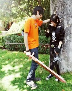 This looks like a cosplay Percy and Nico<< really? I thought it looked like Annabeth and Rachel.<< I love this
