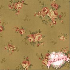 "Antique Flower 30451-60 by Lecien: This beautiful fabric is from the Antique Flower collection by Lecien.  100% cotton, 44""/45"" wide.  This fabric features tossed roses on a shabby green olive background."