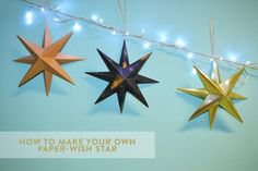 DIY Christmas decorations: Origami star tutorial - Mollie Makes Diy Christmas Decorations, Star Decorations, Holiday Ornaments, Wire Ornaments, Mollie Makes, Origami Christmas Star, Christmas Crafts, Navidad Diy, Decor Crafts