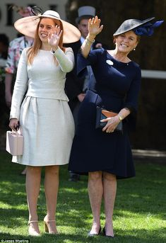 Prince Andrew's former wife, Sarah Ferguson, and their daughter, Beatrice, attend Royal Ascot day