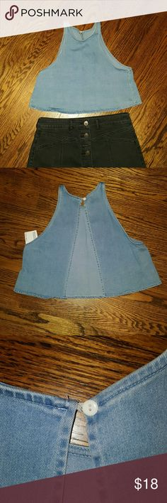 American Apparel Jean Crop Top Jean crop top with open split back and top button, fun perfect for concerts and summer, new with tags American Apparel Tops Crop Tops
