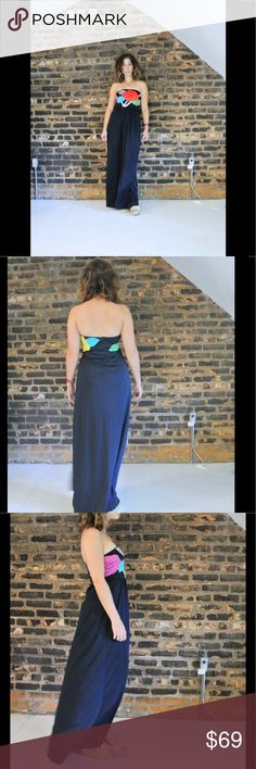 """60s pop art navy tube maxi dress +front slit +teeny sequin black beads adorn the flower design +in excellent vintage condition! near mint! +no label tag +fabric tag attached 100% polyester  +not lined, but not sheer + tube part of the dress has an elastic + marked size Medium  -----> Measurements <-----  { model wears a size 4/6 and is 5' 2""""}  length: 50 width at hips: up to 23 bust: 15 Dresses Maxi"""