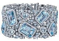 "Robert Procop Blue Topaz & Diamond Bracelet.    Blue topaz and diamond wide bracelet in 18k white gold. 133.70 total carats of blue topaz and 7.70 total carats of diamonds. Designed by Robert Procop. 7"" length and 36mm width. Betteridge.  www.finditforweddings.com"
