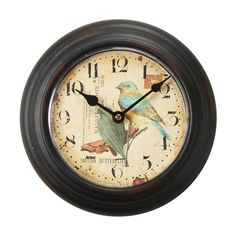 "Found it at Wayfair - 8.2"" Round Blue and Yellow Bird Design Wall Hanging Clock"