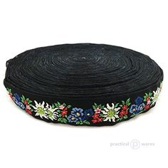 Bavarian Edelweiss Enzian Flowered Braid Jacquard Fabric Trim 50 Yards by the Bolt Wholesale Pricing 134 Inch Multi  Perfect for Costumes Home Decor Crafts Wedding Formal Wear Decorations *** More info could be found at the image url.Note:It is affiliate link to Amazon.