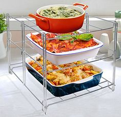 Maximize your oven space with this 3 level oven rack. Holds up to three heavy casseroles one per shelf. Easy to assemble and folds flat for easy storage. Dishwasher and oven safe. Three level oven rack made of durable chrome plated steel, securely holds 3 heavy casseroles. Maximize your oven baking space or use as a