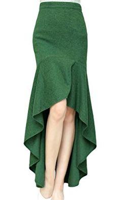 AvaCostume Women& Irregular Lotus Leaf Mermaid Fish Tail Long Skirt, M, Green Skirt Outfits, Dress Skirt, Midi Skirt, Mode Glamour, Mode Style, Diy Clothes, Dress Patterns, African Fashion, Designer Dresses