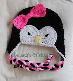 Items similar to Crochet Penguin Beanie on Etsy Crochet Penguin, Diaper Covers, Penguins, How To Look Better, Projects To Try, Crochet Hats, Beanie, Bows, Trending Outfits