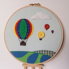Hotair balloon scene  Embroidery  Hoop Art  by ButterflyBessie, £18.00