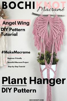 Macrame Cord, Micro Macrame, Macrame Projects, Diy Projects, Diy Angel Wings, Bohemian Decorating, Happy December, Rope Crafts, Plant Hangers
