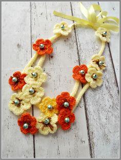 Crochet flower necklace long crochet necklace by Zigettasstyle, $45.00