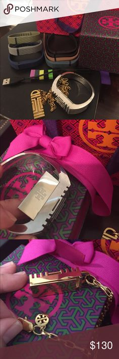 Tory Burch Fitbit bracelet and necklace bundle EUC Tory Burch silver bracelet and gold Tory Burch necklace. Only one TB box and bag is included. Additionally adding in 7 fitbit rubber bracelets with accessories (not Tory Burch) and a fitbit charger. My fitbit flex was replaced with a watch. Tory Burch Accessories