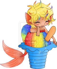 Rainbow Shaved Ice Mermaid Commission by YamPuff.deviantart.com on @deviantART