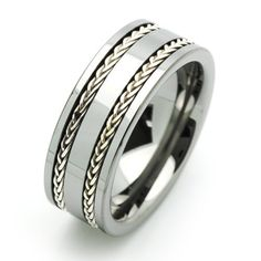 8MM Comfort Fit Tungsten Wedding Band Braided Silver Strands Inlaid Ring For Men & Women ( Size 7 to 14) Size 7 Cobalt Free Double Accent,http://www.amazon.com/dp/B0066SGIHY/ref=cm_sw_r_pi_dp_YxJNrb9A53D5478D
