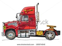 American lorry - cartoon - stock vector