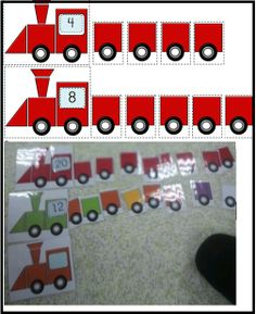 Transportation-Math Center Game- Build a train according to the number indicated at the window. Could also build student name. First letter on the engine. Activity Centers, Math Centers, Math Gs, Transportation Theme Preschool, Homeschool Math, Preschool Activities, Montessori, Literacy, Cvc Worksheets