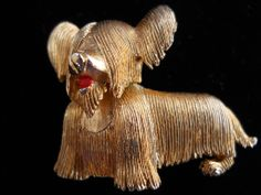 Charming Marcel Boucher Skye Terrier pin, c. 50-60's.. Cool Signatures, Skye Terrier, Marcel, Dog Life, Lion Sculpture, Charmed, Ruby Lane, Antiques, Brooches