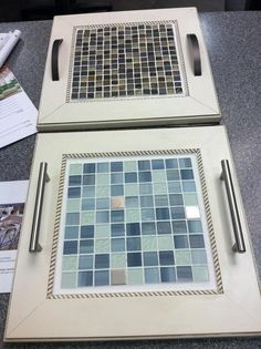 Serving trays made from repurposed cabinet doors, backsplash tile and cabinet hardware.