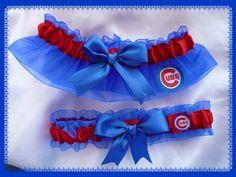 Chicago Cubs Organza Ribbon Wedding Garter Set w Cubs Fabric