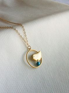 Gold Necklace  Gold Bird Necklace  Circle Necklace by HLcollection, $27.00