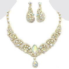 AB Aurora Borealis Crystal Rhinestone Monarch Formal Wedding Bridal Prom Flower Party Pageant Evening Necklace Earrings Set Elegant Costume Jewelry