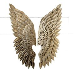 Angel Wing Wall Decor large metal angel wings wall decor, distressed gold, ivory