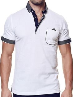 This short-sleeve polo shirt by MACEOO is crafted from stretch-cotton mesh and features, a stiff dress shirt collar, and reversible button tab sleeve. Mens High Collar Shirts, Mens Polo T Shirts, Short Sleeve Polo Shirts, Polo Rugby Shirt, Polo Shirt White, Rugby Shirts, French Cuff Shirts, Mens Designer Shirts, Camisa Polo