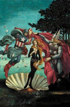 "The Avengers: The Birth of Black Widow Illustration by Julian Totino Tedesco for ""Avengers Art Appreciation month"" Comic Kunst, Comic Art, Comic Books, The Avengers, Avengers Humor, Ms Marvel, Illustration Arte, Art History, Artists"