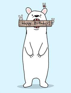 Happy Birthday Bear Card. $3.50, via Etsy.
