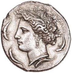 Silver 10 drachm (decadrachm), Syracuse, 405 BC - 400 BC. 1997.9.64