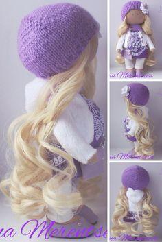 Rag doll Handmade doll Fabric doll Tilda doll Textile doll Violet doll Cloth doll Interior doll Nursery doll Soft doll Baby doll by Elena M