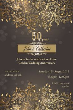50th anniversary invitations, 50th wedding anniversary invitation, 50th wedding…                                                                                                                                                                                 Más