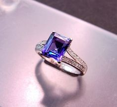 This in white gold. Perfect Unique ring. Tanzanite is so gorgeous.